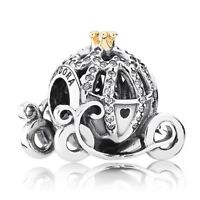 925 Sterling Silver Pandora Disney Cinderella Pumpkin Carriage Charm 791573CZ