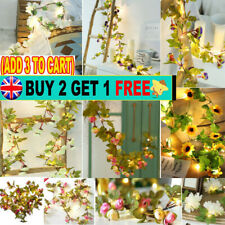 2M 20 LED Flower String Fairy Lights Ivy Vine Wedding Hanging Home Garland Decor