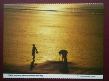 POSTCARD YORKSHIRE EARLY MORNING BEACHCOMBERS AT FILEY