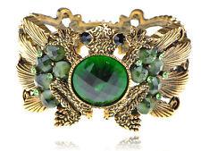 Gold Tone Fashion Green Crystal Rhinestune Frog Toad Bracelet Bangle Cuff Gift