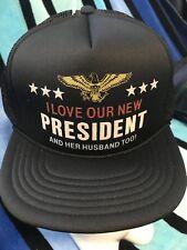 NOS Vtg LOVE PRESIDENT & HER HUSBAND TOO rude Novelty Trucker Mesh Snapback Hat