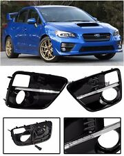 For 15-Up Subaru WRX STi JDM S4 Style Fog Light Bezel Filler Cover Trim W/ LED