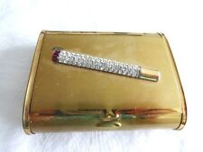 Vintage 1950's jeweled rhinestone goldtone cigarette compact /name card case box
