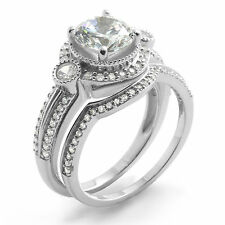 Round Three Stone Cubic Zirconia Bridal Wedding Set Ring Sterling Silver Sz 8