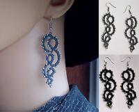 Long Earrings, handmade, Tatted lace, jewelry, Frivolite, tatting lace, silver