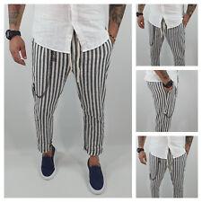 Pantalone Uomo Lino Fasce nero Primaverile Estivo tasche americane catena Casual