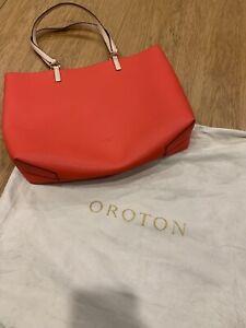 Oroton Estate Tote Bag Orange Medium Rrp $249
