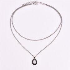 2 Layer Boho Silver Fashion Women Chain Dripping Stones Pendant Choker Necklace