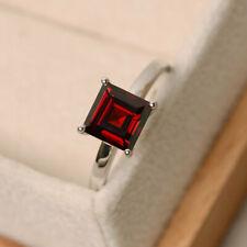 1.50 Carat Natural Garnet Engagement Ring 14K Solid White Gold Rings Size 5 6