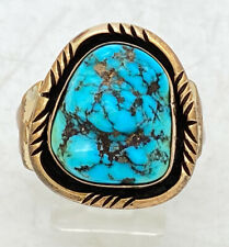 Navajo Mens Chunky Sterling Silver Turquoise Gold Filled Ring Tooled Sz 12 13.8g