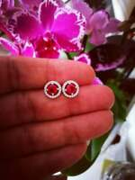 1.25Ct Round Cut Red Ruby & Diamond Halo Studs Earrings In 14K White Gold Over