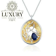 Natural Gemstones 18K Gold Plated Sterling Silver Statement Pendant Necklace