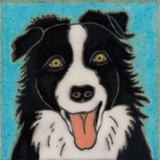 Ceramic Tile Handpainted Original Art Border Collie Dog painting, hot plate