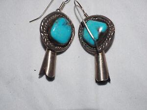 Beautiful Kingman Turqoise Navajo Bloosom Drop Earrings Sterling SIlver
