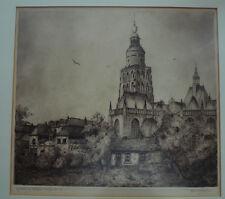 C.M. van der Woerd , Dutch Radierung etching signed signiert Nederland gothic