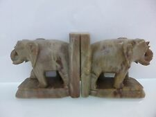 Vintage Carved Polished Marble Green Elephant Bookends Figurines Made in India