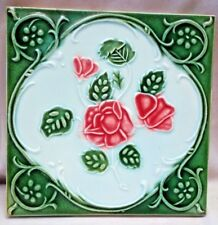 TILE MAJOLICA DK JAPAN VINTAGE ART NOUVEAU FLOWER ROSE PORCELAIN COLLECTIBLE#261