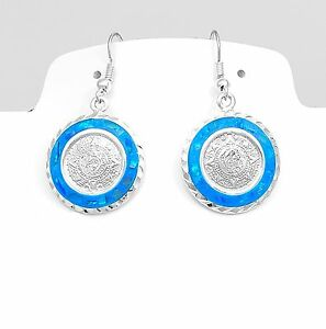 Mesoamerican AztecCalendar Blue Opal Earrings JewelryTaxco Mexico