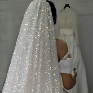 wv34 NEW 2 tier 2.4m Sparkling Glitter Cathedral Chapel Length Wedding Veil Comb