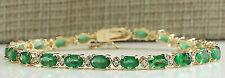 9.0 Ct Green Emerald Oval Cut Luxury Tennis Bracelets  14K Yellow Gold Finish