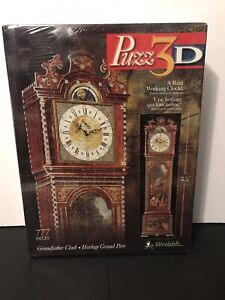 """Puzz 3D Puzzle Real Working Grandfather Clock 777 Pieces 34 3/4"""" In Brand New"""