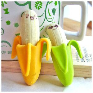 2 New Kawaii Korean Stationery Stationary Banana Rubber Pencil Gift Eraser Erase