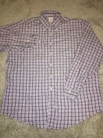 Brooks Brothers Mens Purple Plaid Long Sleeve Button Up Dress Shirt Size XL