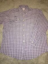 Brooks Brothers Mens Purple Plaid Long Sleeve Button Up Dress Shirt Size XL