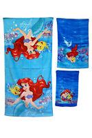 DISNEY KIDS BATHROOM BATH TOWEL 3PC SET CARTOONS CHARACTERS Girls Ariel