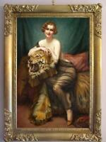 "Hand-painted Old Master-Art Antique Oil painting girl tiger on Canvas 24""X36"""