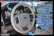 2008 Ford F-250 F-350 Lariat-GRAY Leather Steering Wheel Cover w/Needle & Thread