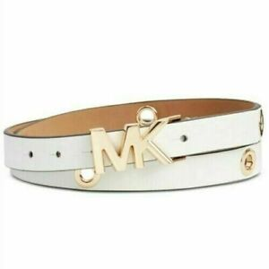 Michael Kors Logo Womens White Leather Skinny Gold Grommet Belt Medium 36""