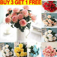10 Heads Silk Rose Artificial Flowers Fake Bouquet Wedding Home Party Decor