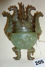 A Chinese vintage oval jade koro vase with high ring mounted cover