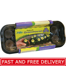 Jiffy 12-Cell Tray Greenhouse Peat Pellets Dome Plant Planter Seed Starter Kit