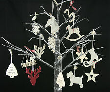 East Of India Vintage Chic Traditional Shabby Wooden Christmas Tree Decorations