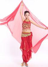 Hot ! Shiny Soft Belly Dance Wear Chiffon Gold Trim Big Veil Shawl Wrap Scarf