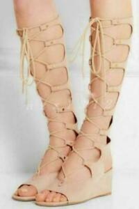 Womens Gladiator Sandals Strappy Knee High Lace Up Wedge Shoes Apricot US 7 Sexy
