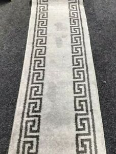 "Grey Saxony Greek Key runner 62cm (24"")Wide.Rug/Washable/Hall/Stairs"