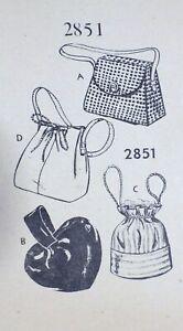 Vtg 1940s Mail Order 2851 Drawstring PURSE Shoulder Hand Bag SEWING PATTERN