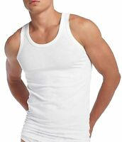 x 2 / x 3 FITTED - SLIM FIT 100% Cotton Plain Vest Sleeveless Gym Top Singlet