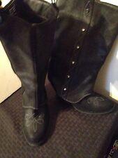 "**SALE** Black Suede Leather Boots Stitching & Studs w/3-1/2"" Heel - Size 7 (dj)"
