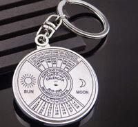 Creative Perpetual Calendar Keyring Keychain Metal Key Chain Ring 50 Years New