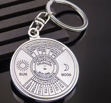50 Years Perpetual Calendar Retro Keyring Keychain Silver Key Chain Ring Keyfob