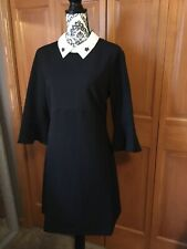 ABS Collections Black Dress With White Collar Bell Sleeve 10
