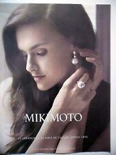 PUBLICITE-ADVERTISING :  MIKIMOTO Perle de Culture  2015 Boucles Oreilles,Bijoux