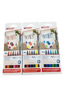Edding Porzellan Pinselstifte 6 Farben 6er Set 4200 Tassen bemalen Stifte 1-4 mm