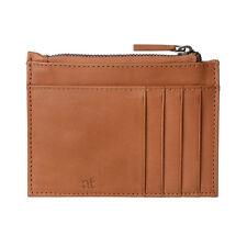 ANTICA TOSCANA Porta carte di credito uomo sottile Slim in Pelle Miele con Zip