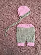 Newborn Baby Girl Knit Bonnet Hat & Pants 2 Piece Set Photo Props pink grey