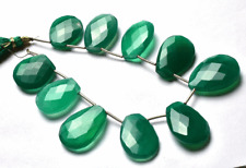 """Natural GREEN Chalcedony Faceted PEAR&FANCY SHAPE Briolettes Beads 18 - 24 MM 7"""""""